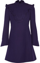Fendi Ruffled Wool And Silk-blend Mini Dress - Dark purple