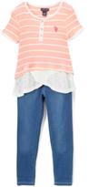 U.S. Polo Assn. Black & Vanilla Stripe Top & Jeggings - Infant & Girls