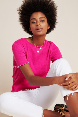 Eri + Ali Cathleen Textured Tee By in Pink Size XS