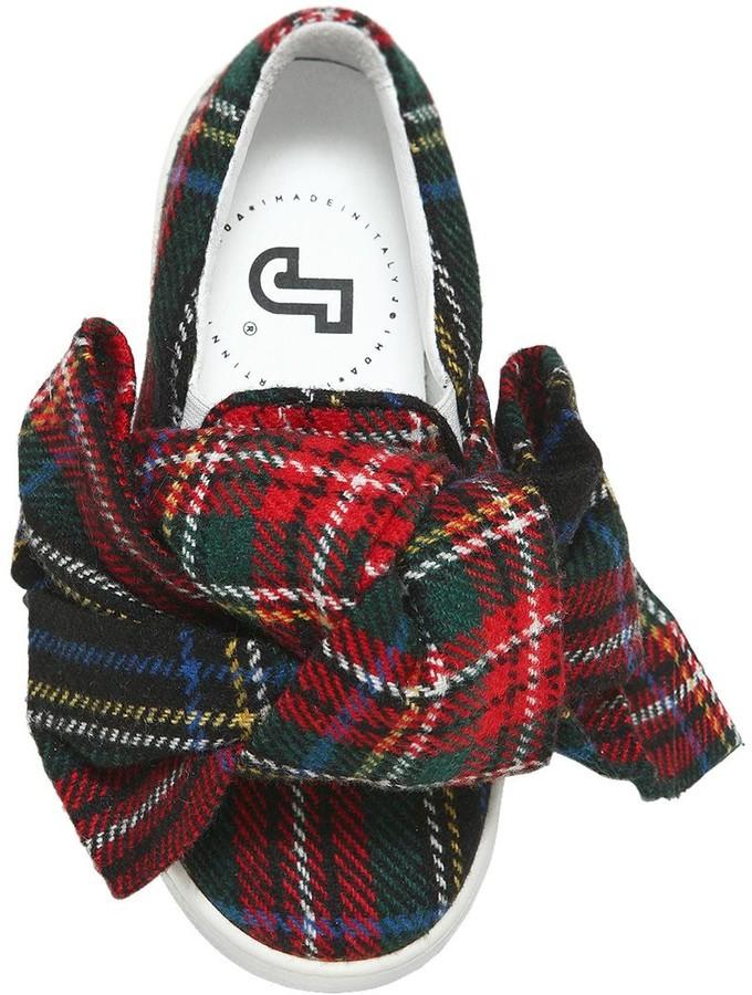 Joshua Sanders Plaid & Leather Slip-on Sneakers