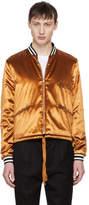 Saint Laurent Orange Velvet Teddy Bomber Jacket