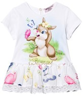 MonnaLisa White Easter Bunny and Butterfly Print and Lace Dress
