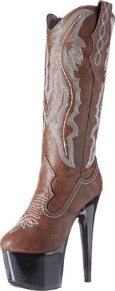 Ellie Shoes Women Dallas Knee High Cowboy Stiletto Platform Boot