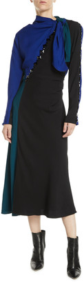 MARC JACOBS, RUNWAY Tie-Neck Long-Sleeve Colorblock A-Line Dress w/ Beading