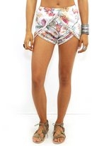 West Coast Wardrobe Miss Me Woven Shorts in Off White/Red