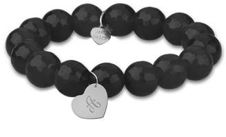 Jane Basch 14K Onyx Dangling Heart Initial Bracelet (A-Z)
