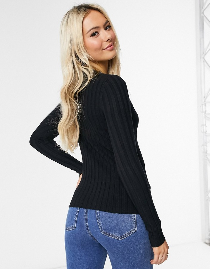 Thumbnail for your product : Qed London skinny rib cardigan in black