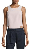 Milly Sleeveless Seamed Stretch-Cady Shell, Petal