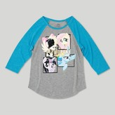 My Little Pony Girls' 3/4 Sleeve Raglan T-Shirt - Heather Gray