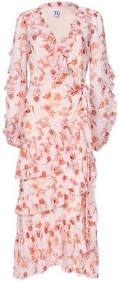 True Decadence Peach Orange Floral Wrap Midi Dress