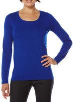 Rafaella Scoop-Neck Cotton-Blend Long-Sleeve T-Shirt