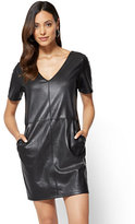 New York & Co. Soho Street - Faux-Leather V-Neck Shift Dress
