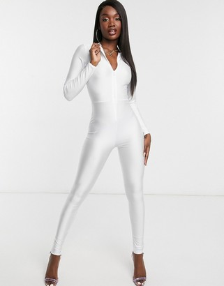 Fashionkilla long sleeve plunge front catsuit in white