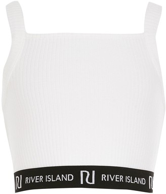 River Island Girls Ribbed Cropped Top-White