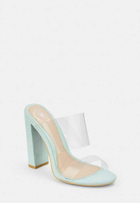 Missguided Green Faux Suede Block Heel Day Sandals
