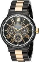 Vince Camuto Women's VC/5311GPBK Swarovski Crystal Accented Gold-Tone and Black Bracelet Watch