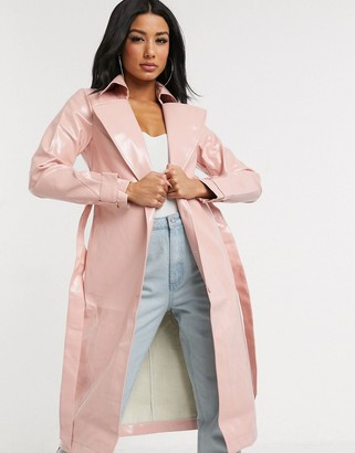 In The Style vinyl belted longline jacket in pink