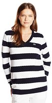 Lacoste Women's Sport Long Sleeve Textured Striped Cotton V-Neck Sweater