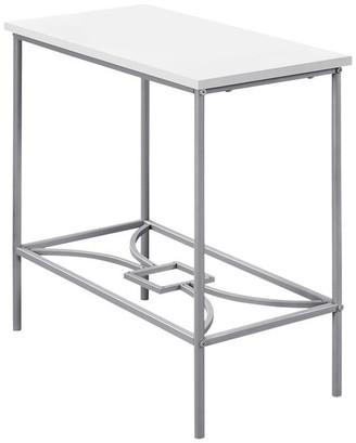 """Monarch Specialties Inc. 22"""" Accent Table, White, Silver Metal"""