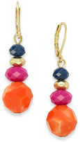 Charter Club Earrings, Gold-Tone Blue, Orange and Pink Bead Drop Earrings