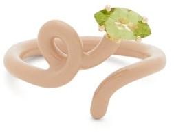 BEA BONGIASCA Baby Vine Tendril Peridot, Gold & Enamel Ring - Beige Multi