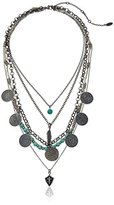 """Ettika Tiny Treasures Antique Silver with Turquoise, Coins, Feathers and Fleur de Lis Chain Necklace, 17"""" + 4.5"""" Extender"""
