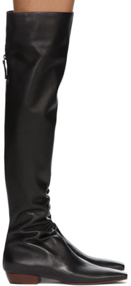 The Row Black Slouch Flat Tall Boots