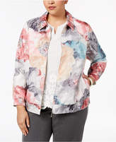 Alfred Dunner Plus Size Lakeshore Drive Floral-Print Bomber Jacket