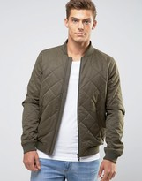 Jack Wills Quilted Bomber In Olive