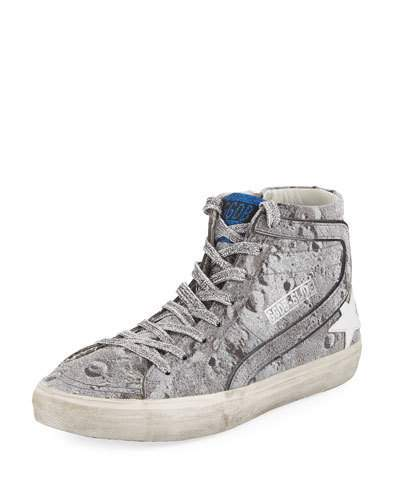 Golden Goose Slide Distressed Glitter High-Top Sneakers