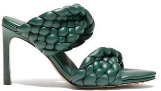 Bottega Veneta Padded Intrecciato-leather Mules - Dark Green