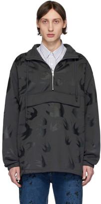 McQ Grey Swallow Half-Zip Sweater