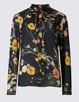 Marks and Spencer Floral Print Bow Long Sleeve Blouse