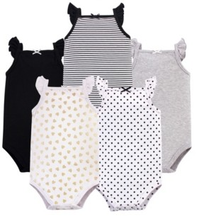 Hudson Baby Sleeveless Cotton Bodysuits, 5 Pack, 0-24 Months