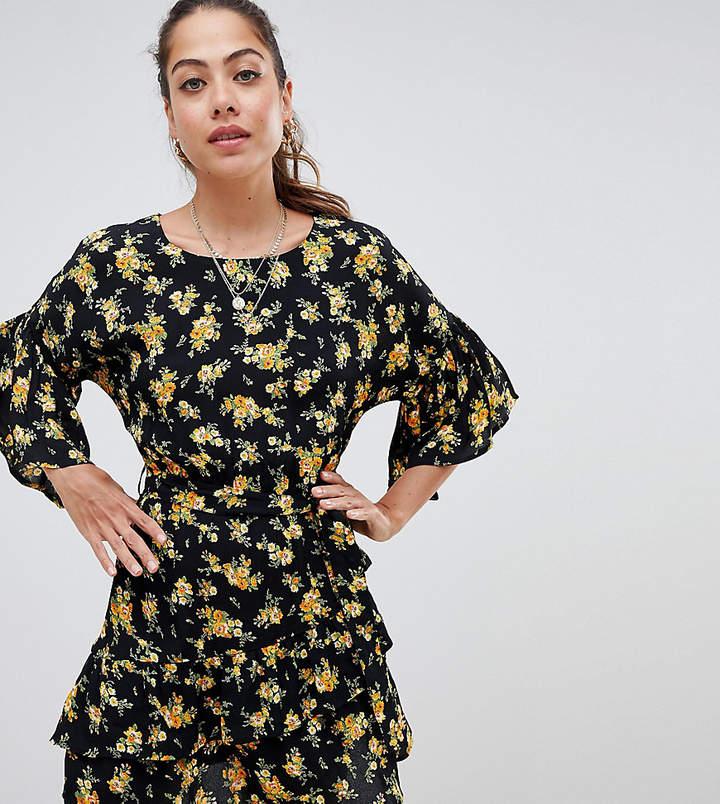 Miss Selfridge tea dress with ruffle sleeves in floral print