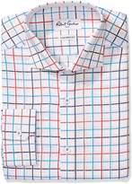 Robert Graham Men's Trim Fit Windowpane Spread Collar Dress Shirt, Multi