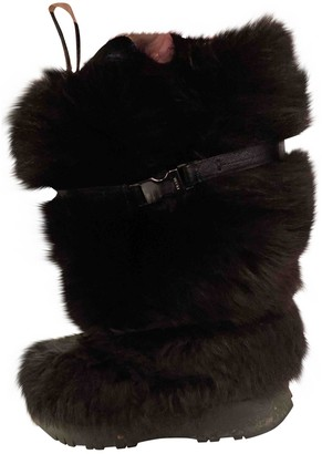 Prada Black Faux fur Boots
