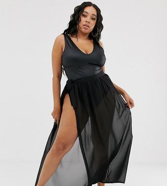 Asos DESIGN Curve recycled maxi chiffon beach sarong-Black