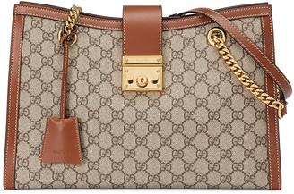 Gucci Padlock GG Tote Bag in Beige Ebony & Tuscany   FWRD
