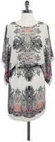 BCBGMAXAZRIA Pauline Drape Sleeve Printed Dress