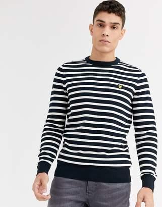 Lyle & Scott breton stripe jumper-Navy