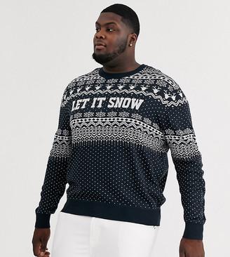 Jack and Jones Originals Holidays fairisle knitted sweater in navy