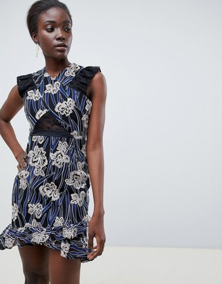 Three floor Printed Asymmetric Hem Mini Dress With Lace Insert