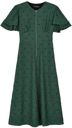 ALEXACHUNG green flower print midi-dress