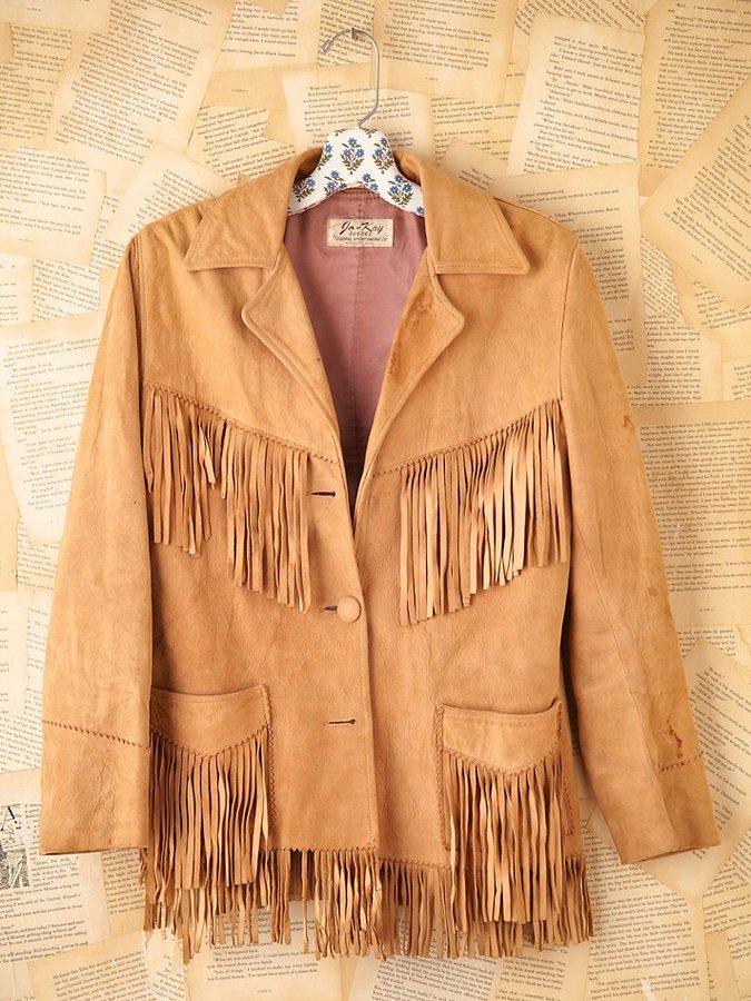 Namaste Vintage Leather Fringe Jacket