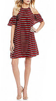 Sugar Lips Sugarlips Cold Shoulder Stripe Dress