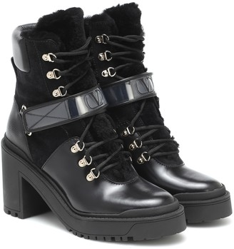 Valentino Trekkgirl leather and shearling ankle boots