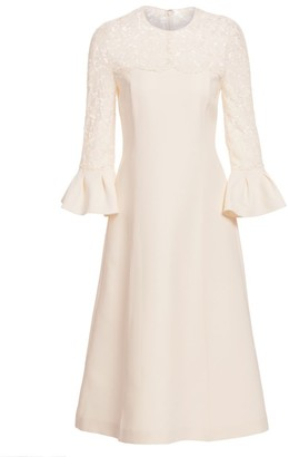 Valentino Lace Bell Sleeve Wool & Silk A-Line Dress