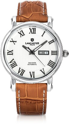Lancaster Monarch Automatic Stainless Steel Embossed Leather Watch