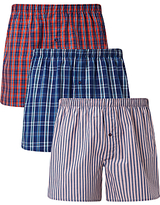 John Lewis Milford Check Stripe Woven Cotton Boxers, Pack of 3, Blue/Red